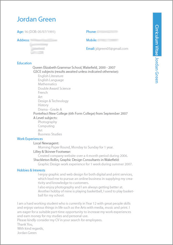 a level student cv examples